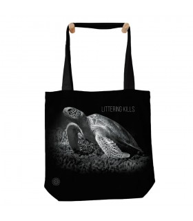 Turtle Littering Kills Black Tote Bag 45x45cms The Mountain