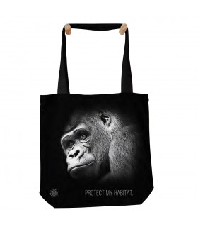 Gorilla Protect My Habitat Black Tote Bag 45x45cms The Mountain