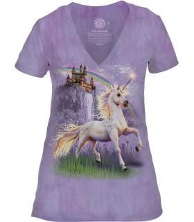 Tee-shirt femme motif licorne avec col en V - T-shirt licorne