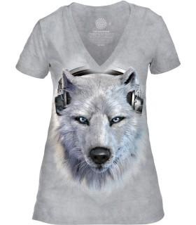 Tee-shirt femme motif loup avec col en V - T-shirt Wolf DJ