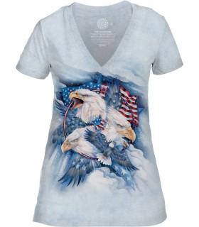 The Mountain Allegiance Womens Tri-Blend VNeck Bird T Shirt