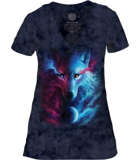 The Mountain Light & Dark Womens Tri-Blend VNeck Wolf TShirt
