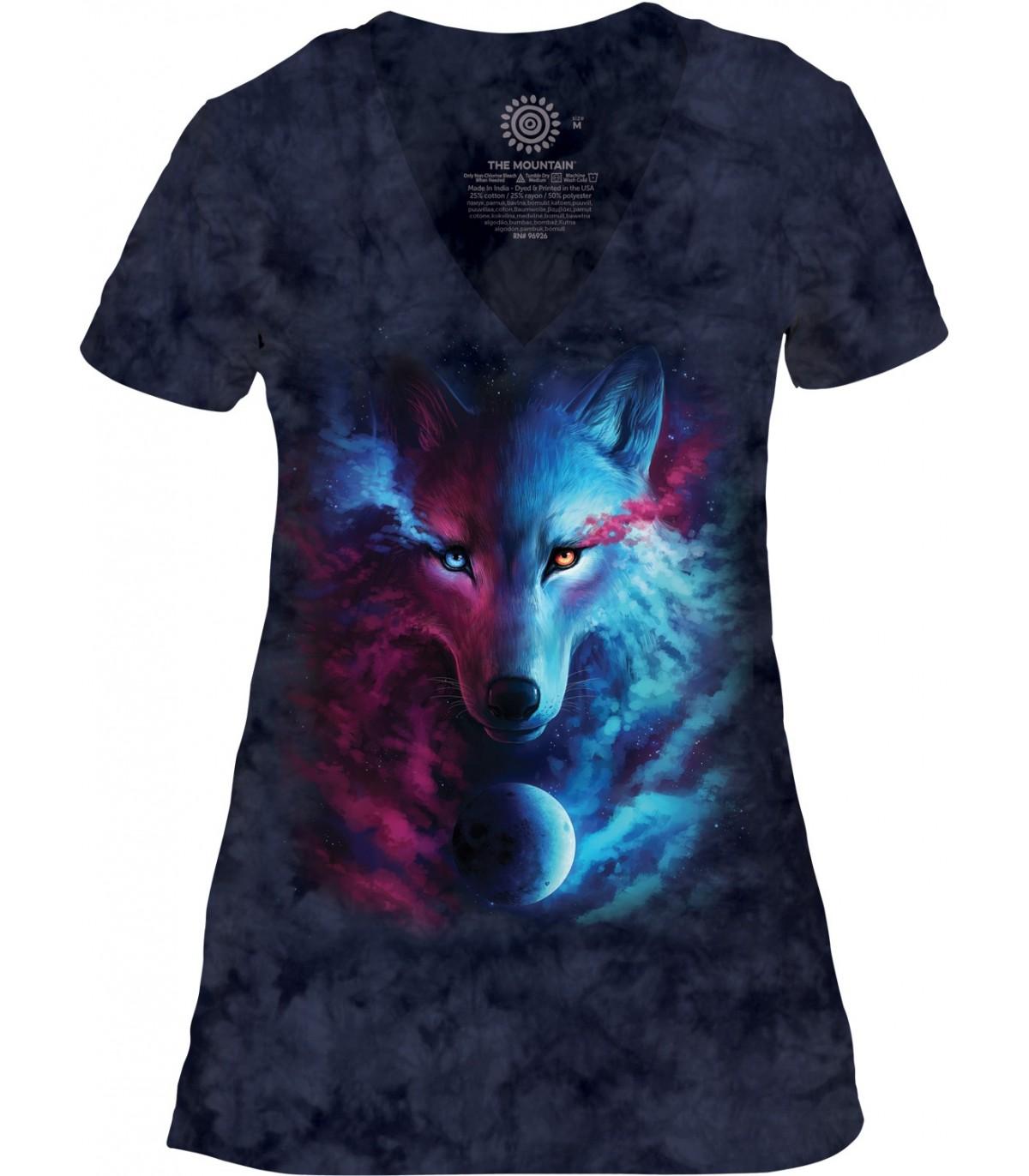 cbc90adf740 Tee-shirt femme motif loup avec col en V - The Mountain