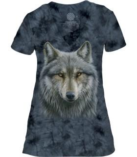 Tee-shirt femme motif loup avec col en V - T-shirt loup