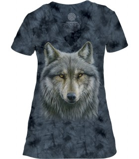The Mountain Warrior Wolf Womens Tri-Blend VNeck T Shirt