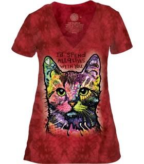 Tee-shirt femme motif Chat avec col en V - T-shirt chat
