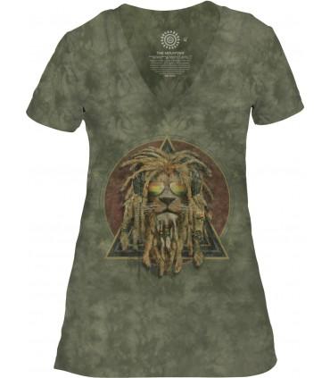 Tee-shirt femme motif DJ Lion Retro avec col en V - T-shirt Lion