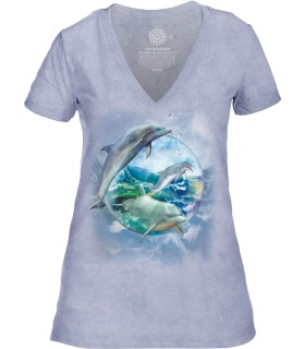 Tee-shirt femme motif dauphin avec col en V - T-shirt dauphin