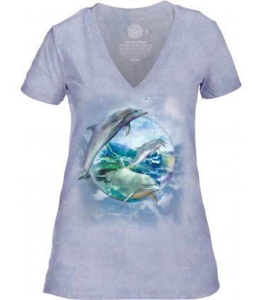 The Mountain Dolphin Bubble Womens Tri-Blend VNeck T Shirt