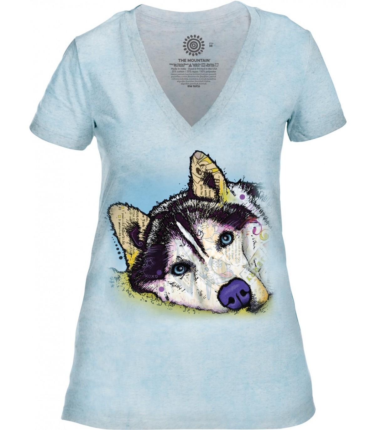 Tee-shirt femme motif Husky Sibérien avec