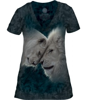 The Mountain White Lion Love Womens Tri-Blend VNeck T Shirt