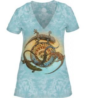 Tee-shirt femme motif Reptile avec col en V - T-shirt Reptile