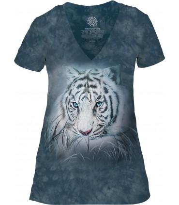 Tee-shirt femme motif Tigre avec col en V - T-shirt tigre blanc