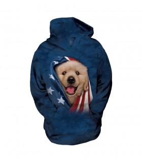 The Mountain Unisex Patriotic Golden Pup Child Pet Hoodie
