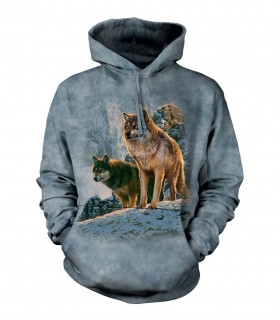 The Mountain Wolf Couple Sunset Adult Animal Hoodie