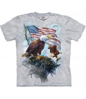 The Mountain American Eagle Flag Patriotic Bird T Shirt