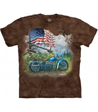 The Mountain Biker Americana Patriotic Motorcycle T Shirt