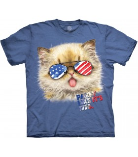 The Mountain Party Like It's 1776 Patriotic USA Cat T Shirt