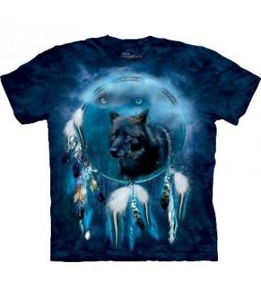 T-Shirt Bouclier esprit de loup noir par The Mountain