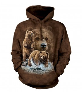 Sweat-shirt à capuche motif ours