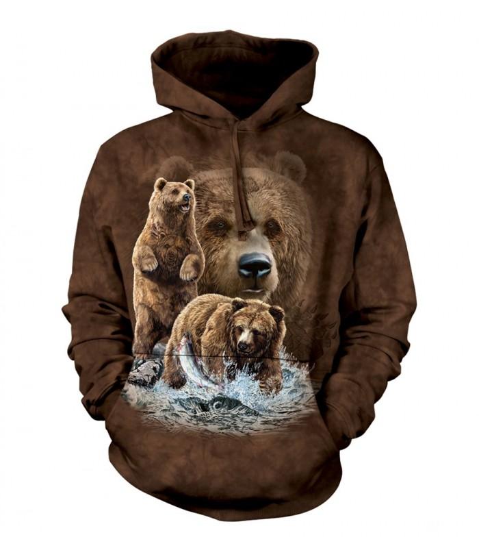 Sweat-shirt à capuche motif ours