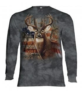 Longsleeve T-Shirt with Patriotic Buck design