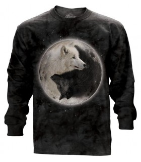 Longsleeve T-Shirt with Yin Yang Wolves design
