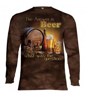 Tee-shirt manches longues motif Bière à l'extérieur