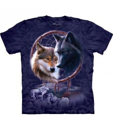 Dreamcatcher Wolves Native American T Shirt by the Mountain