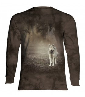 Tee-shirt manches longues motif Loup Gris