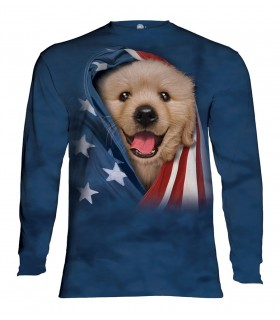 Longsleeve T-Shirt with Patriotic Golden Pup design