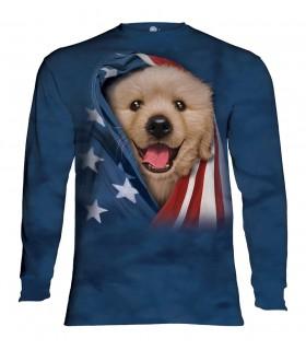Tee-shirt manches longues motif Chiot Golden Patriotique