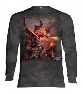 Tee-shirt manches longues motif Dragon de feu