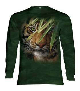 Tee-shirt manches longues motif Forêt d'émeraude