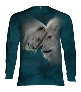 Tee-shirt manches longues motif Lions blancs