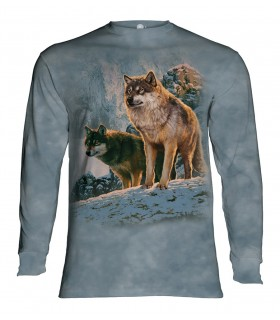 Longsleeve T-Shirt with Wolf Couple Sunset design