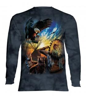 Tee-shirt manches longues motif Prière de l'aigle