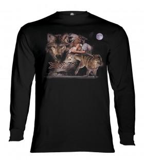 Tee-shirt manches longues motif Lune Loup Arapaho