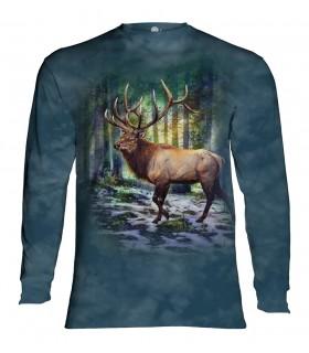 Tee-shirt manches longues motif Wapiti ensoleillé