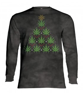 Tee-shirt manches longues motif Cannabis de Noël