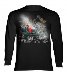 Tee-shirt manches longues motif Père Noël Biker