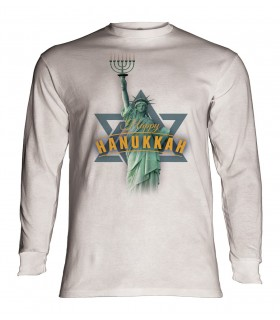 Longsleeve T-Shirt with Lady Liberty Hanukkah design