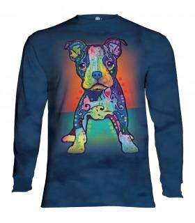 Tee-shirt manches longues motif Chien coloré