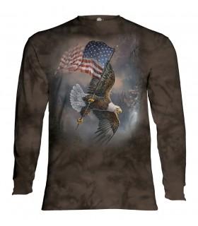 Tee-shirt manches longues motif Aigle portant un drapeau