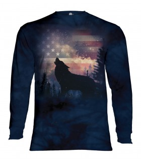 Longsleeve T-Shirt with Patriotic Howl design