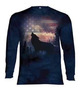 Tee-shirt manches longues motif Hurlement patriotique