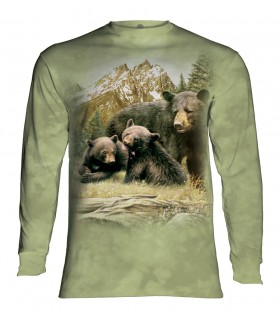 Tee-shirt manches longues motif Famille ours noir