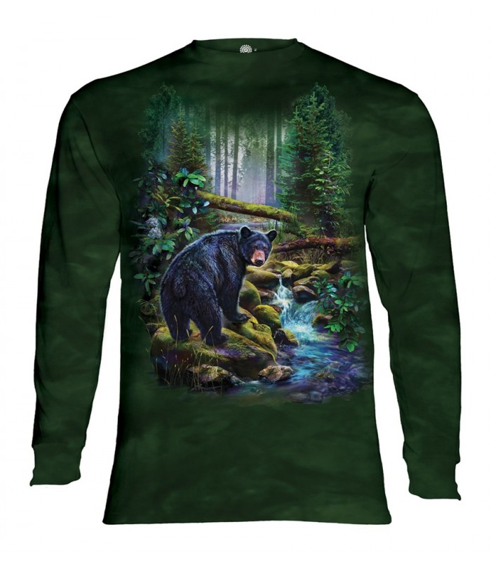 Longsleeve T-Shirt with Black Bear Forest design
