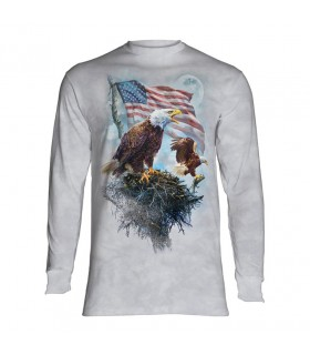 Longsleeve T-Shirt with American Eagle Flag design
