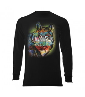 Longsleeve T-Shirt with Painted Wolf design